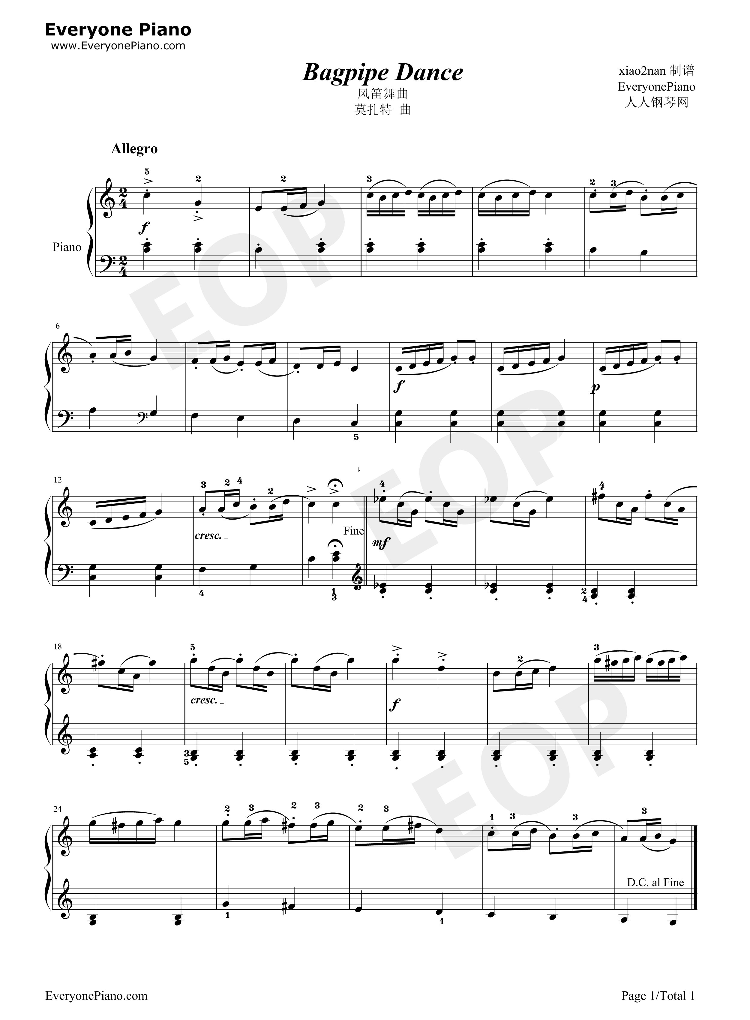 Bagpipe dance 1 for Piano dance music 90 s