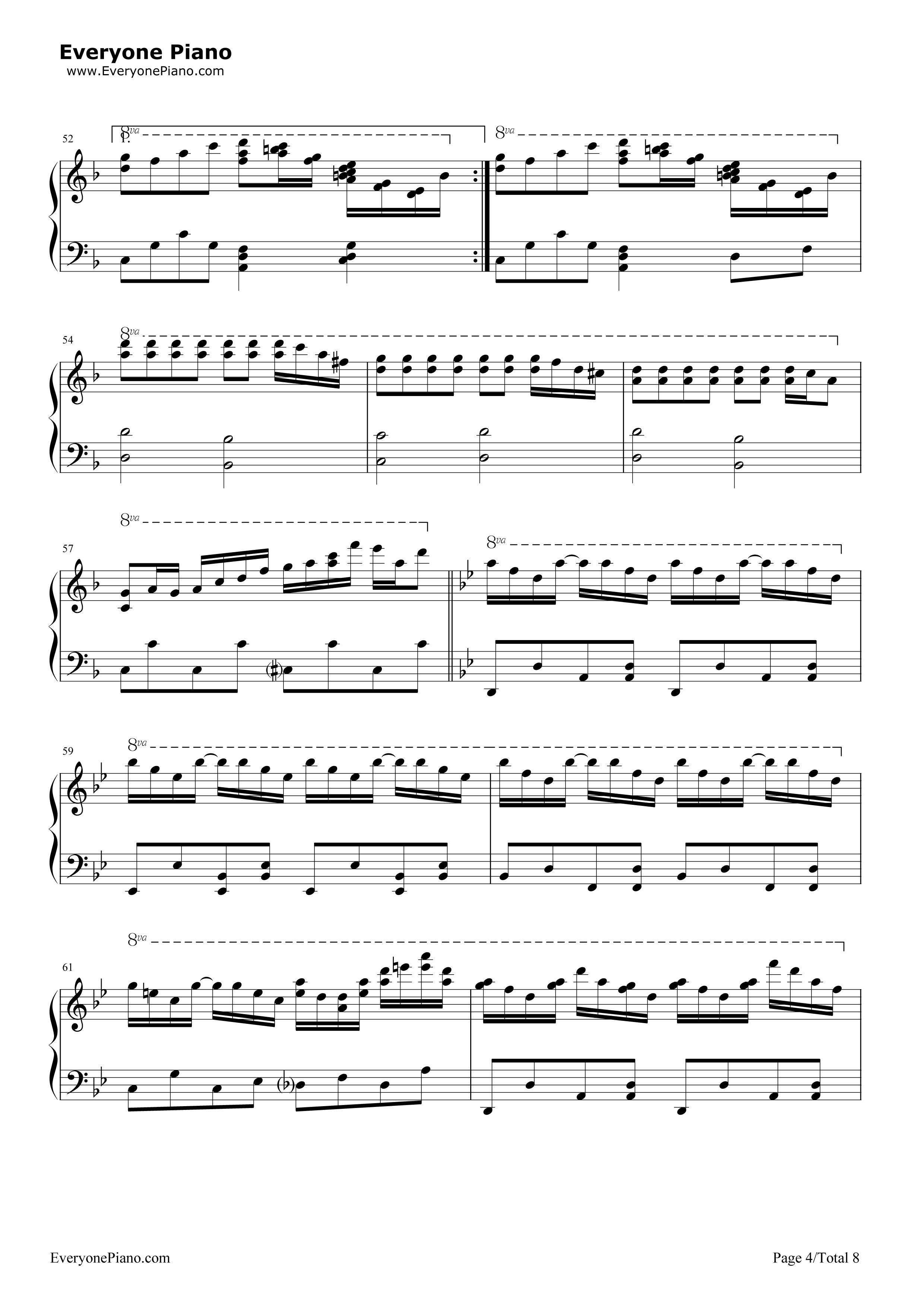 千本桜五線譜プレビュー4 千本桜五線譜プレビュー( 総数8枚 )  無料の楽譜「五線譜、両手略譜