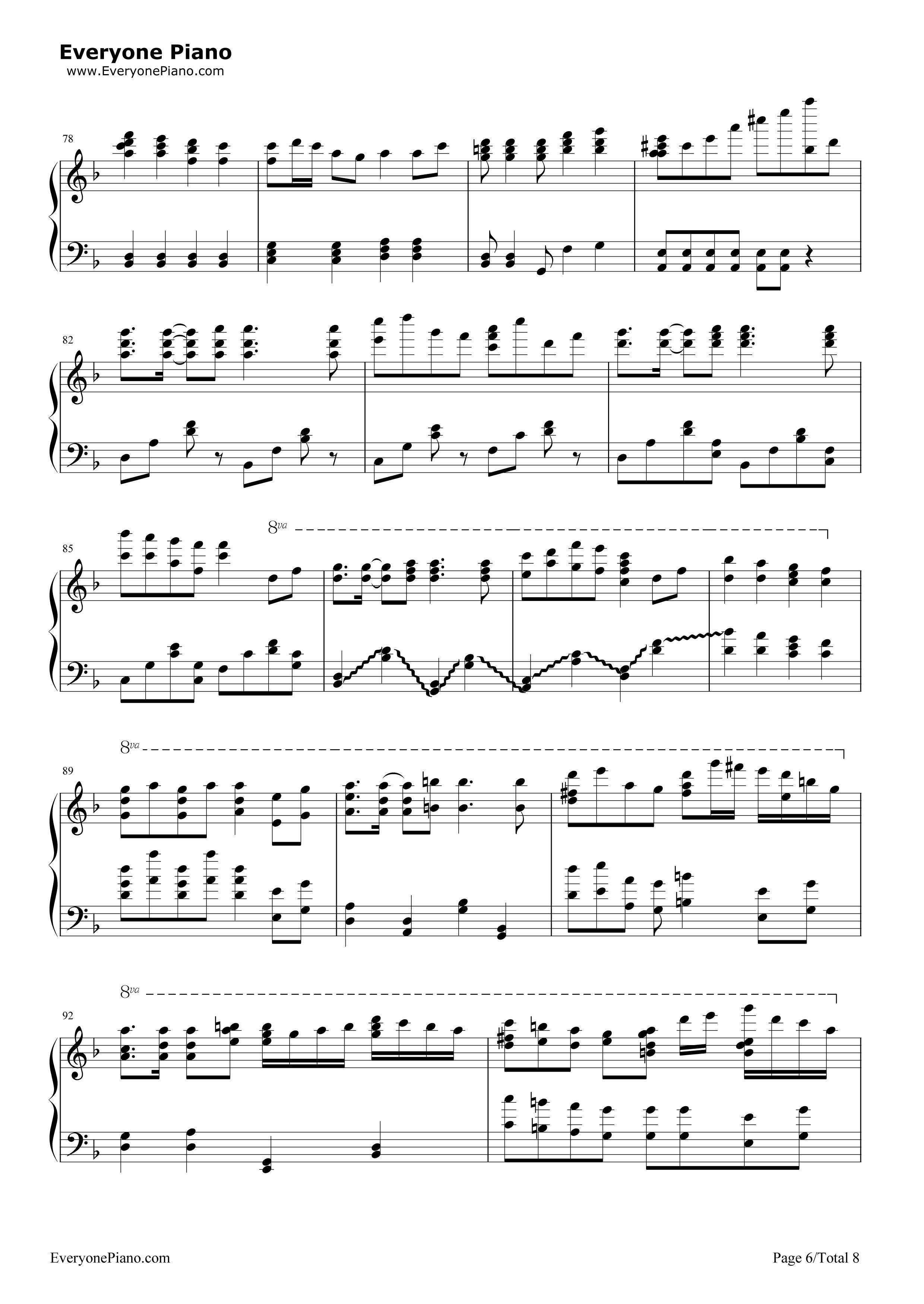 千本桜五線譜プレビュー6 千本桜五線譜プレビュー( 総数8枚 )  無料の楽譜「五線譜、両手略譜