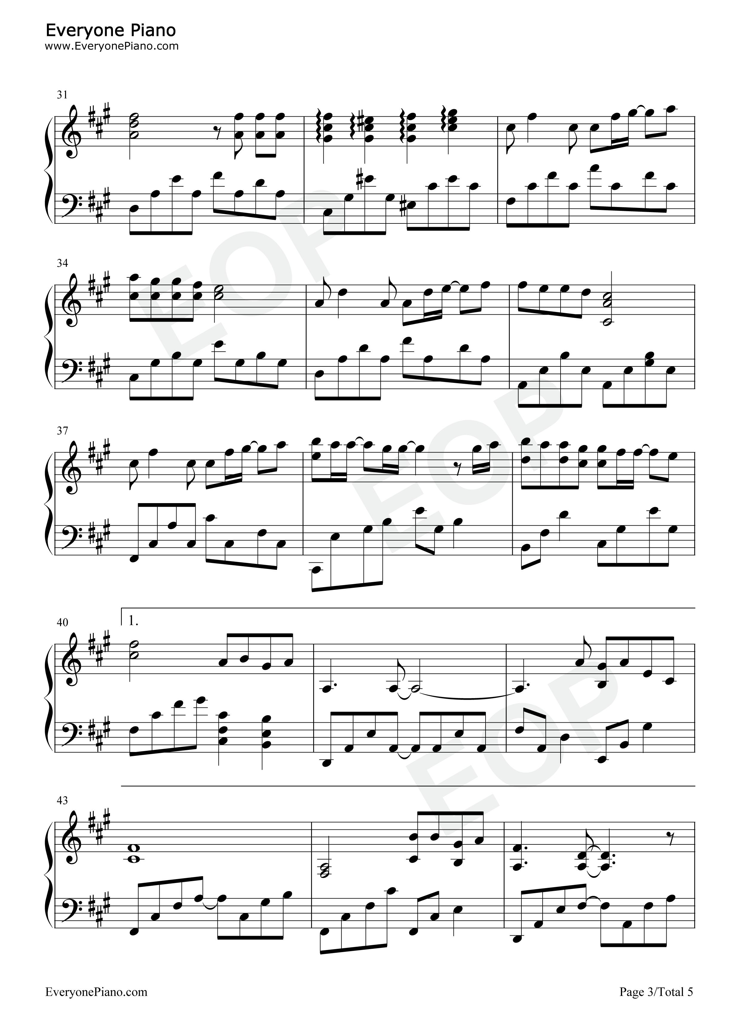 空と君のあいだに五線譜プレビュー3-無料の楽譜「五線譜、両手 ...