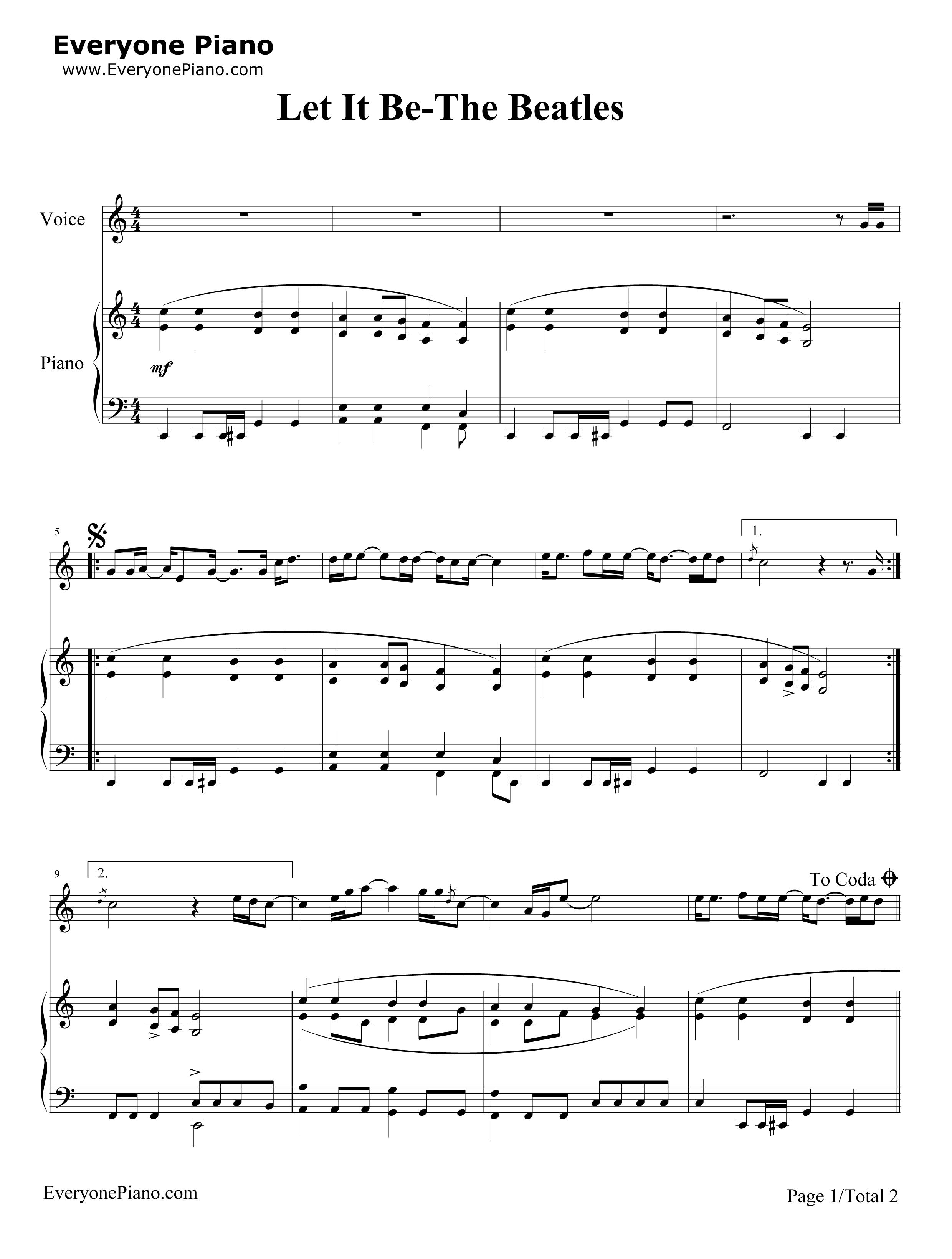 レットイットビー 楽譜
