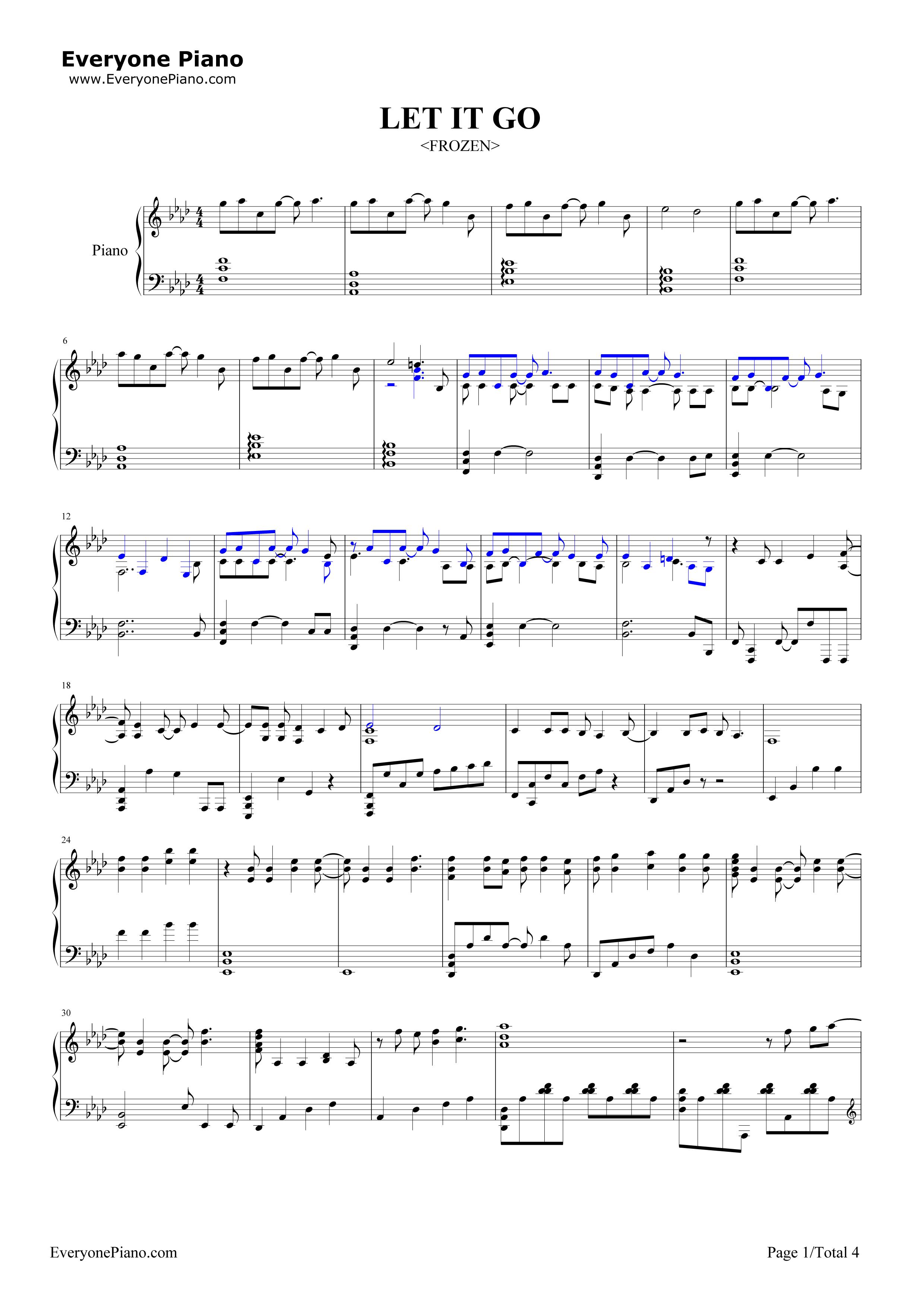 let it go 鋼琴 譜 簡單 版