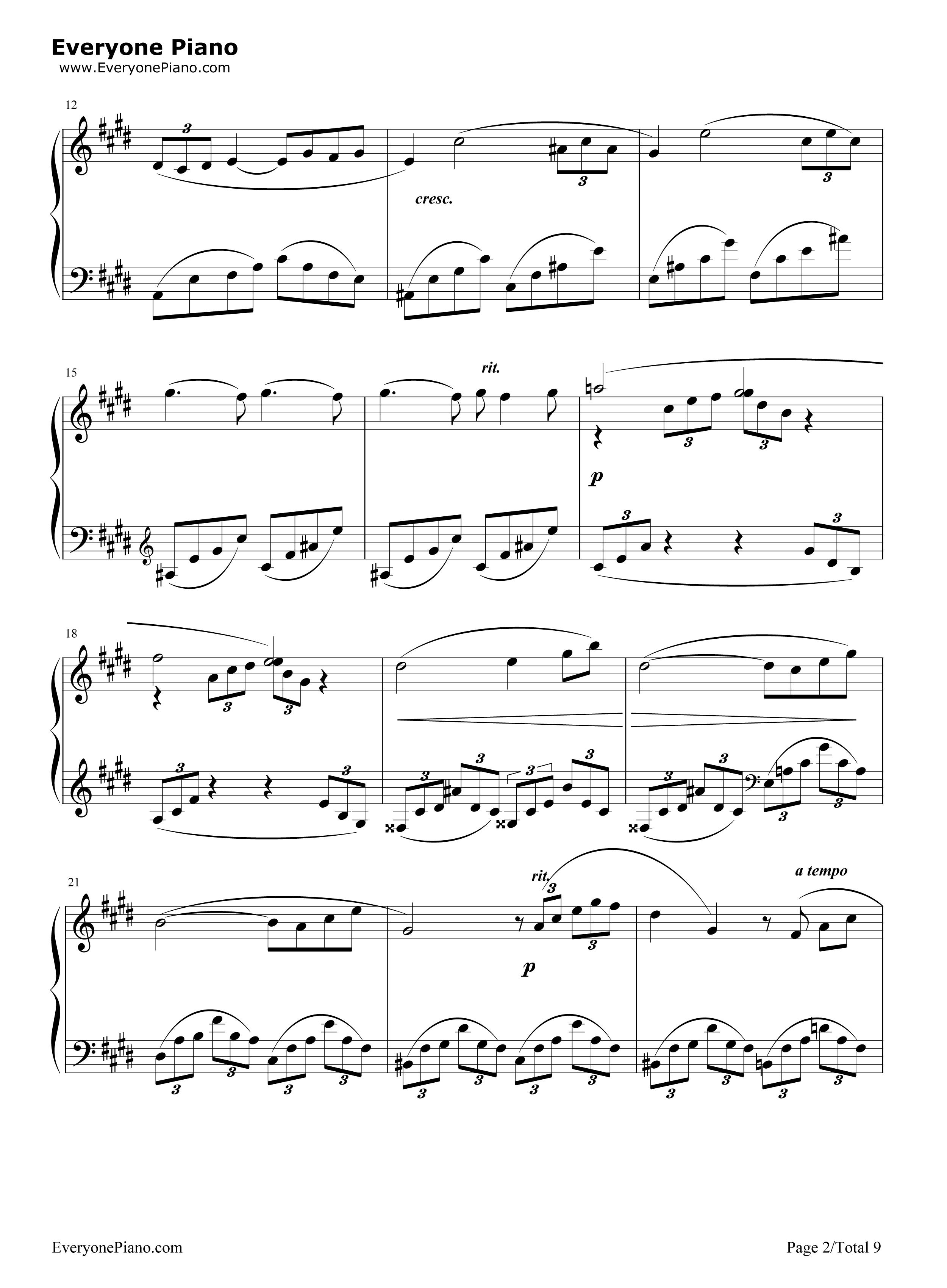2つのアラベスク第1番-Claude Debussy五線譜プレビュー
