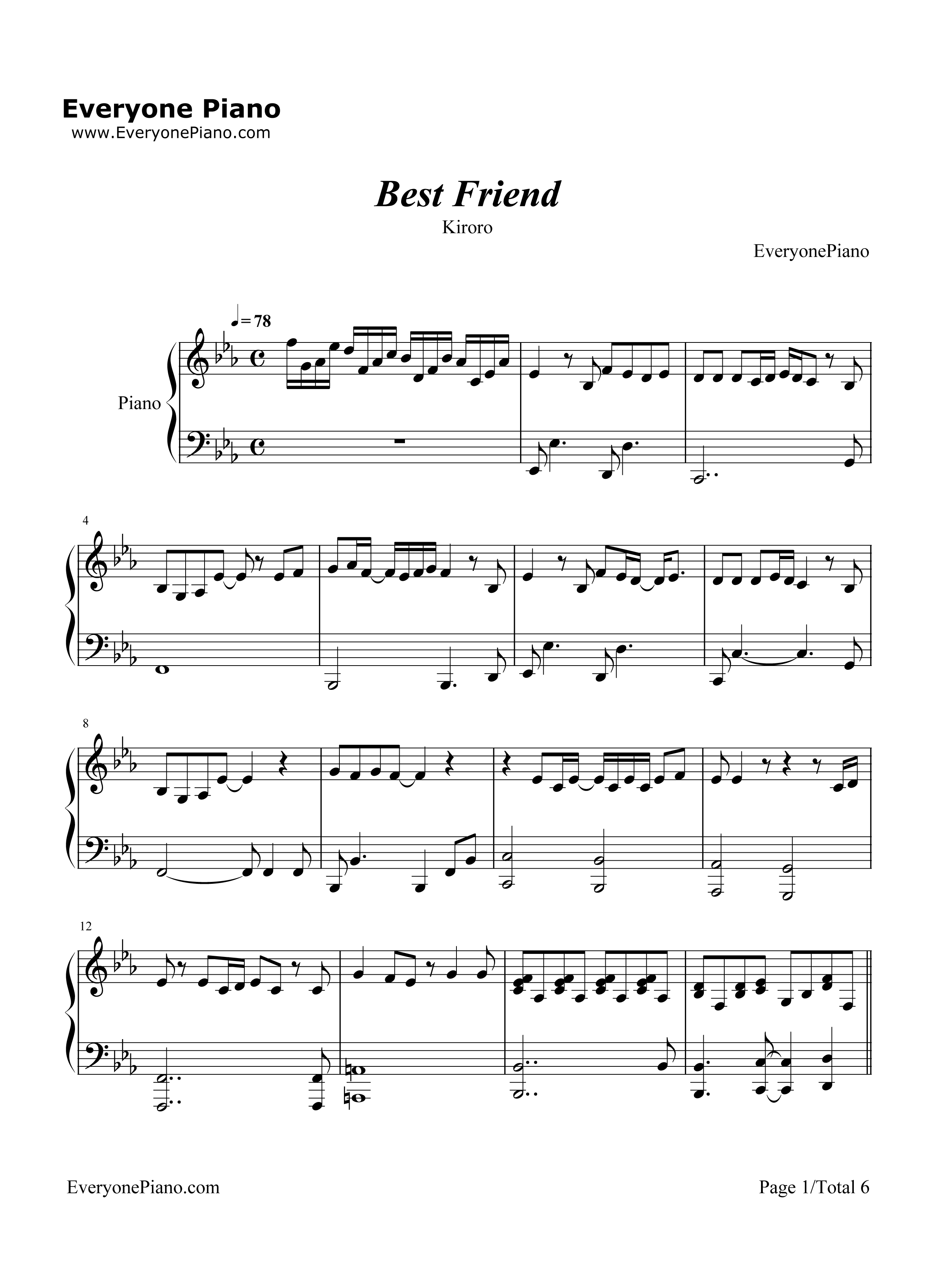 Best Friend-ちゅらさん主題歌五線譜プレビュー1