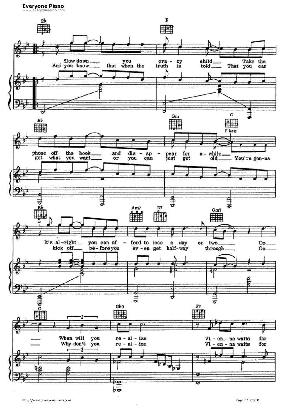 vienna billy joel piano pdf