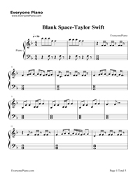 Blank Space-Taylor Swift五線譜プレビュー1