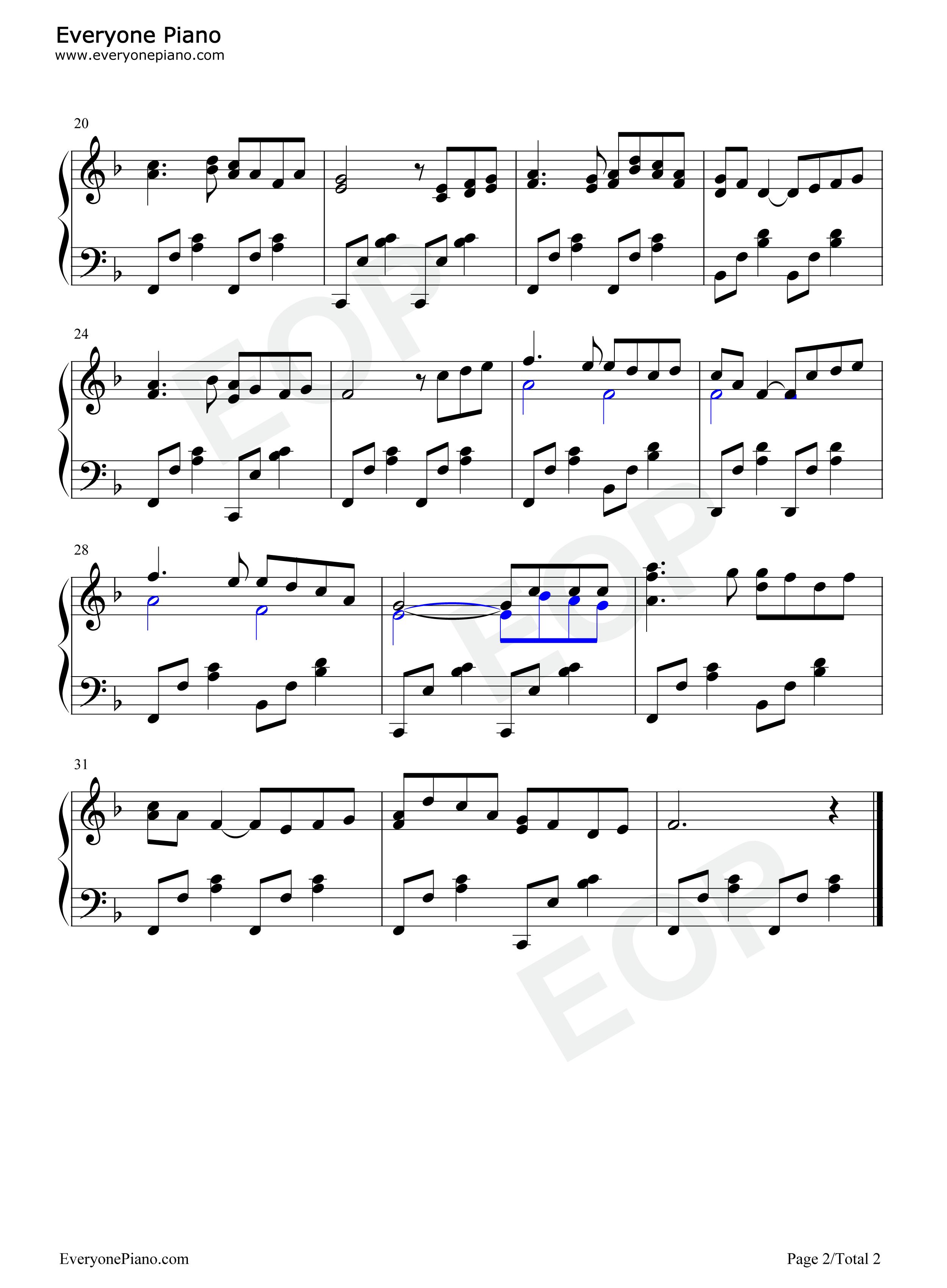 ロンドンデリーの歌-Londonderry Air五線譜プレビュー2-無料の楽譜 ...