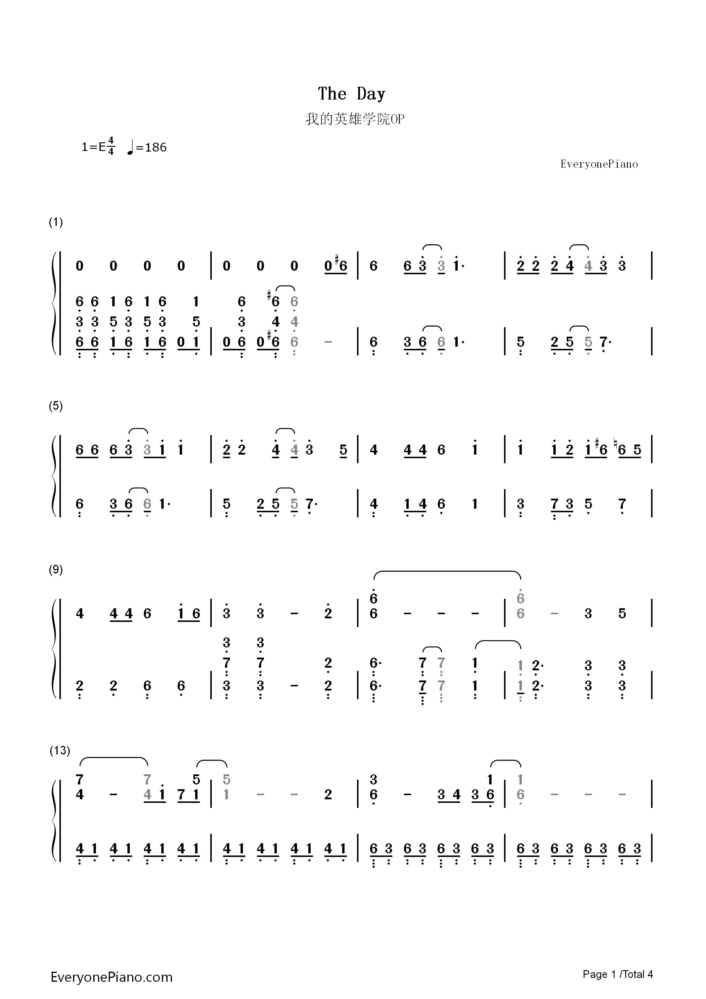 The Day-僕のヒーロー アカデミアOP両手略譜プレビュー1