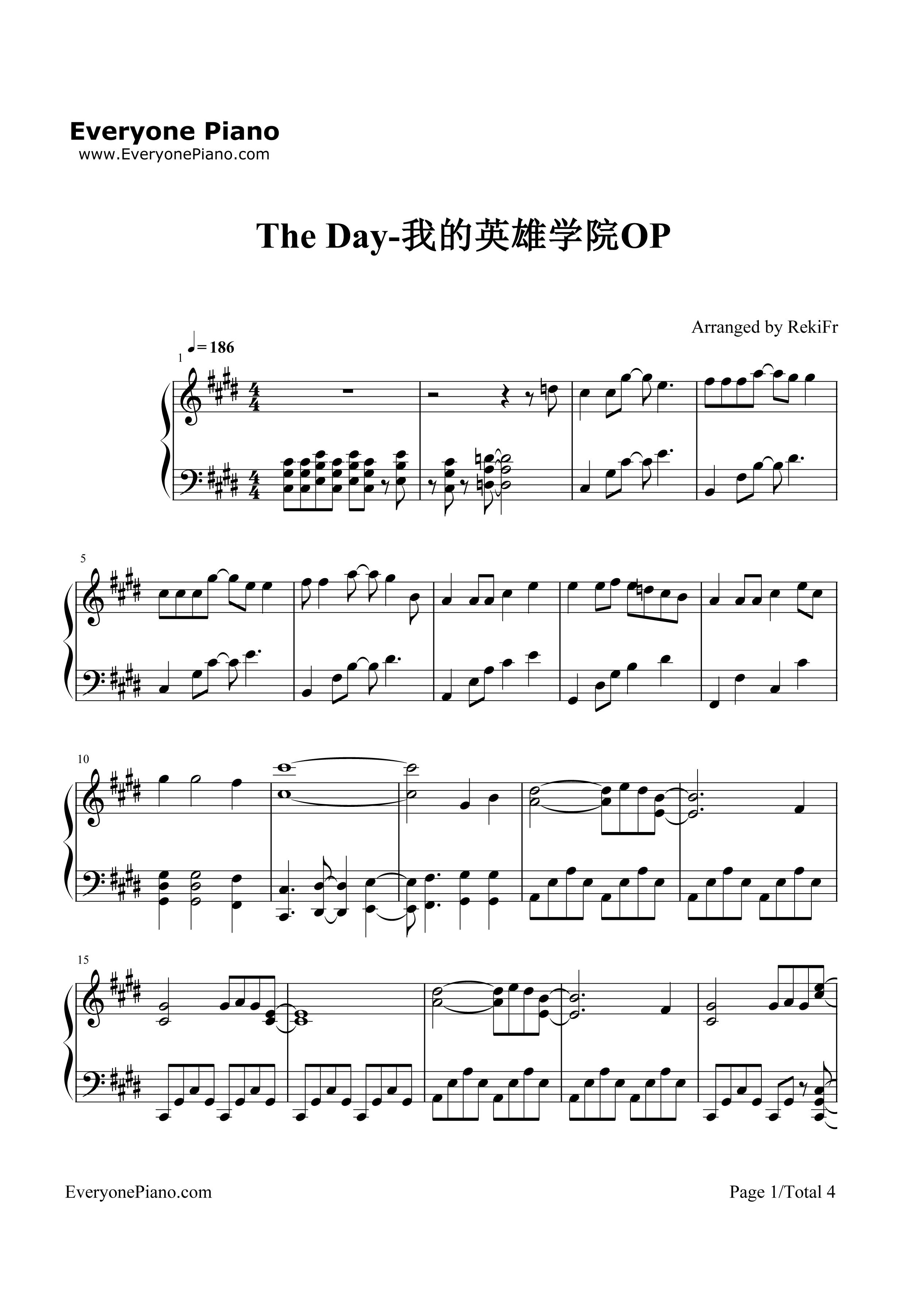 The Day-僕のヒーロー アカデミアOP五線譜プレビュー1